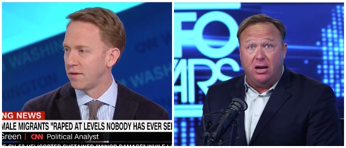 Left CNN screenshot Right The Alex Jones Channel Youtube screenshot
