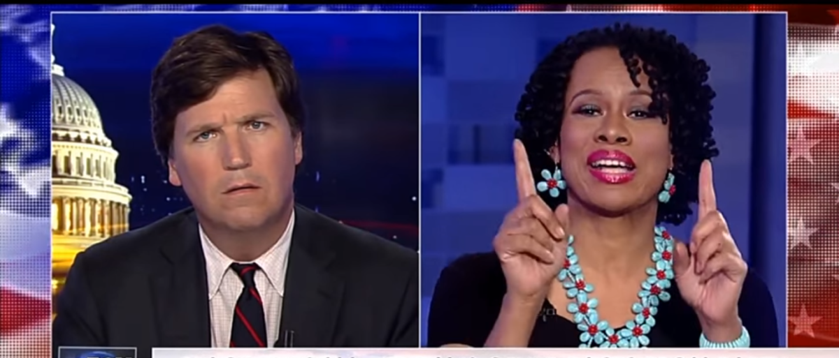 Lisa Durden speaks with Tucker Carlson on Fox News. (Photo Credit: YouTube/The AntiCoIntelPro Show)