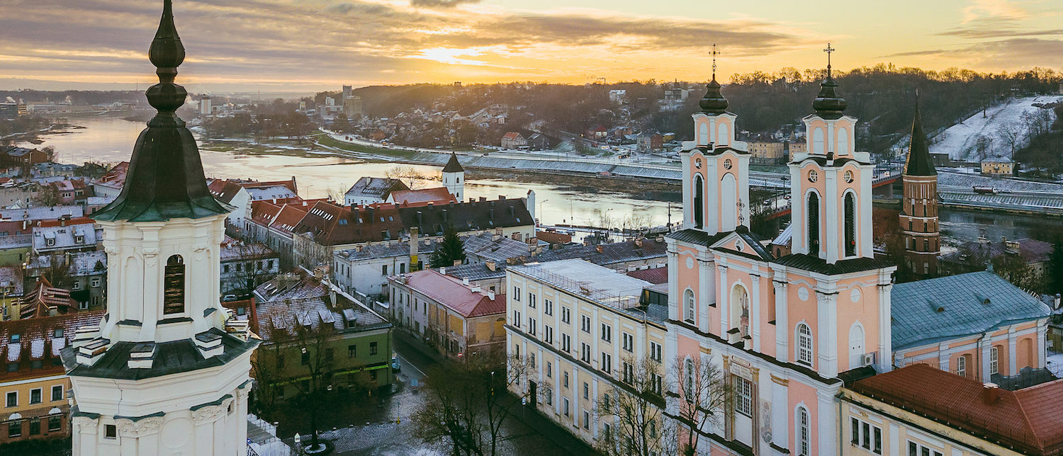Early winter morning in Kaunas old town, Lithuania. Drone aerial view. (Shutterstock/A. Aleksandravicius)