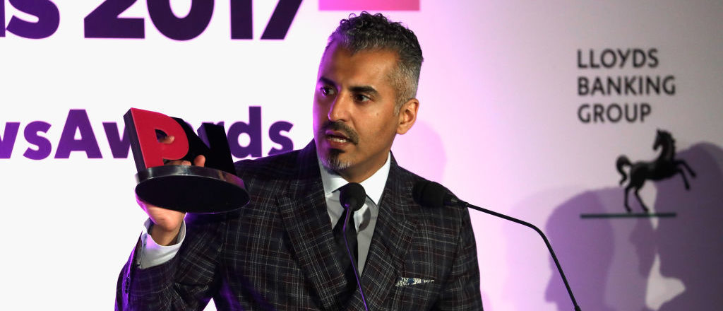 Joint winner of the Broadcaster of the Year award, Maajid Nawaz speaks on stage during the Pink News Awards 2017 held at One Great George Street on October 18, 2017 in London, England. (Photo by John Phillips/Getty Images) | SPLC Pulls Anti-Muslim Extremist List