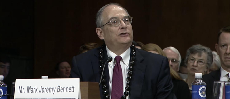 Mark Bennett appears before the Senate Judiciary Committee. (YouTube screenshot/SenTedCruz)