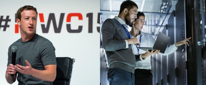 Left: Mark Zuckerberg (Photo by David Ramos/Getty Images) Right: Computer engineers at work [Shutterstock - Gorodenkoff]