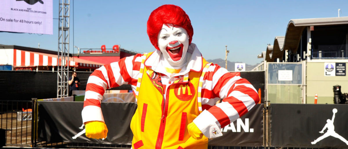 SANTA MONICA, CA - FEBRUARY 18:  Ronald McDonald attends McDonald's at Bleacher Report All-Star Experience on February 18, 2018 in Santa Monica, California.  (Photo by John Sciulli/Getty Images for  McDonald's)