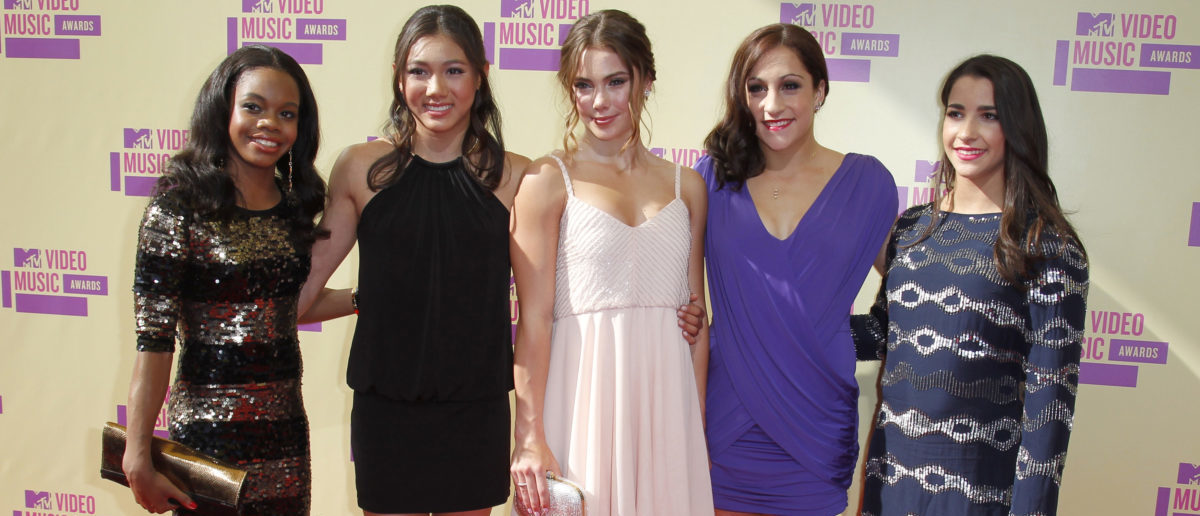 The U.S. womens gold medal olympic gymnastics team of (L to R) Gabrielle Douglas, Kyla Ross, McKayla Maroney, Jordyn Wieber and Aly Raisman arrive for the 2012 MTV Video Music Awards in Los Angeles, September 6, 2012. REUTERS/Danny Moloshok