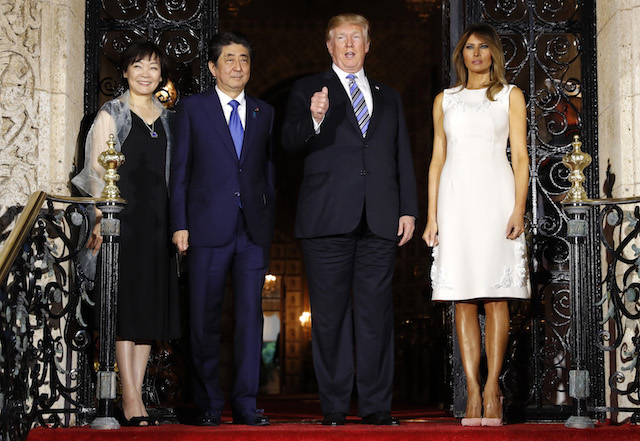 u-s-president-trump-and-first-lady-melania-trump-dine-with-japans-prime-minister-abe-and-abes-wife-akie-in-palm-beach