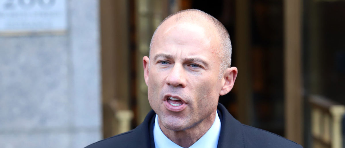Michael Avenatti holds a press conference after leaving federal court on April 16, 2018 -- ShutterStock J Stone
