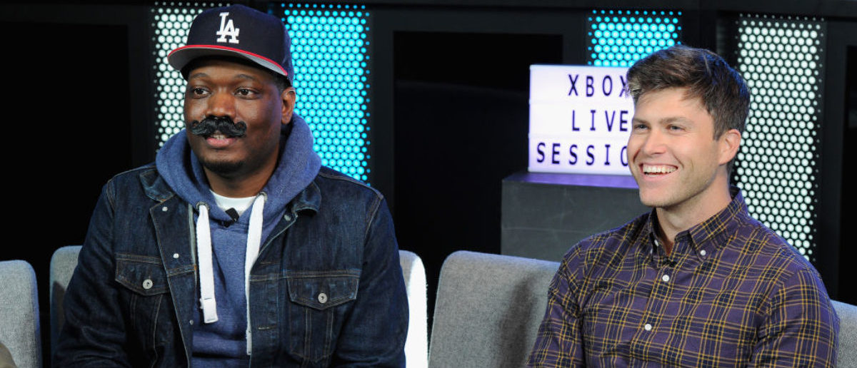 NEW YORK, NY - OCTOBER 30: Saturday Night Live's Michael Che and Colin Jost join Xbox Live Sessions to play WOLFENSTEIN II: THE NEW COLOSSUS at Microsoft Store on October 30, 2017 in New York City. (Photo by Craig Barritt/Getty Images for Xbox)