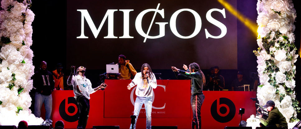 LOS ANGELES, CA - FEBRUARY 15: Recording artists Quavo, Offset and Takeoff of music group Migos performs onstage during 'All-Star Weekend Kick-Off Party' at Capitol Records Tower on February 15, 2018 in Los Angeles, California. (Photo by Christopher Polk/Getty Images for Capitol Music Group)