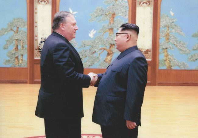 Mike Pompeo shakes hands with Kim Jong Un in North Korea during Easter weekend in 2018. (Photo: The White House)