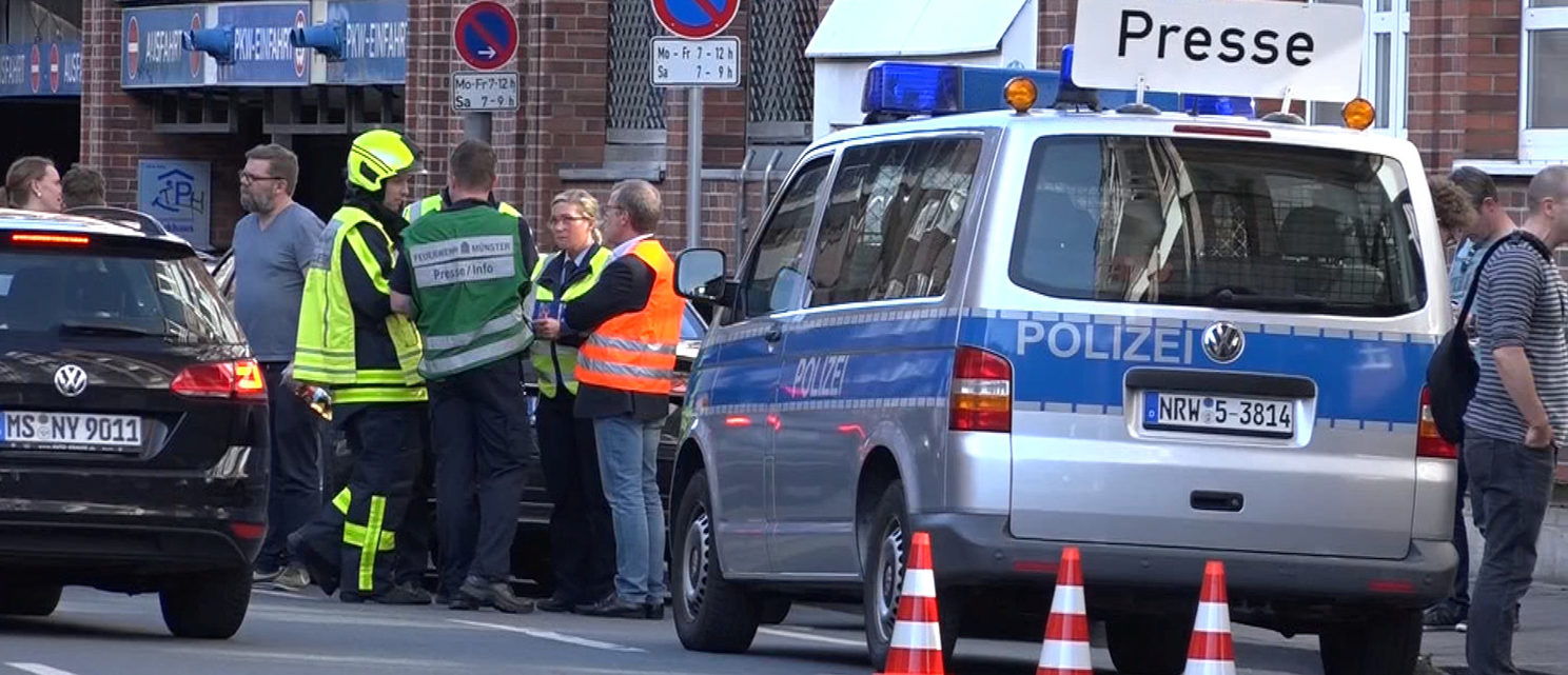 Police block a street near a place where a vehicle drove into a group of people killing several and injured many in Muenster Germany, April 7 2018. REUTERS/NonstopNews