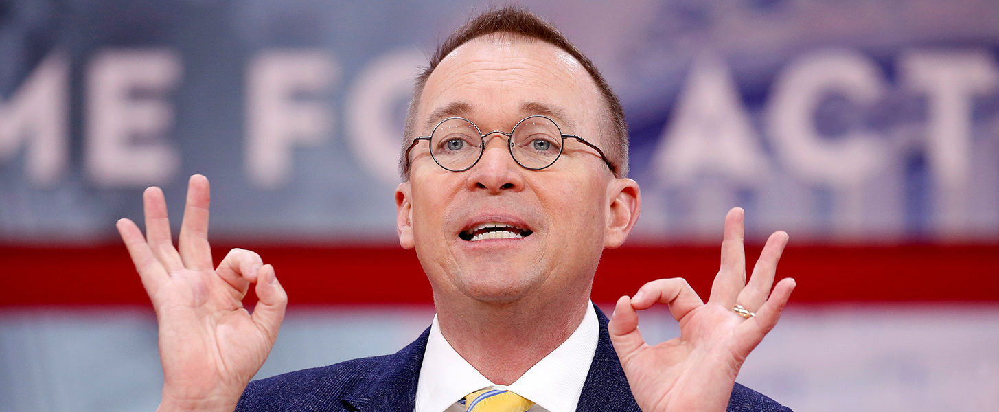 FILE PHOTO: Director of the Office of Management and Budget Mick Mulvaney speaks at the Conservative Political Action Conference (CPAC) at National Harbor, Maryland, U.S., February 24, 2018. REUTERS/Joshua Roberts/File Photo