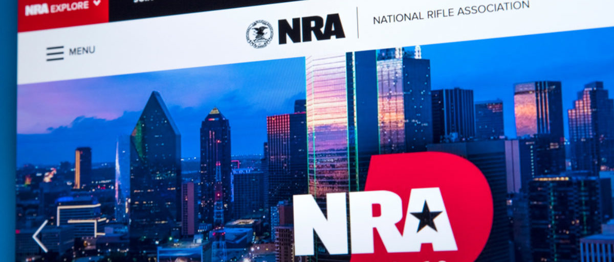 LONDON, UK - FEBRUARY 22ND 2018: The homepage of the official website for the National Rifle Association - the NRA is a US nonprofit organization that advocates for gun rights, on 22nd February 2018. (Shutterstok/chrisdorney)