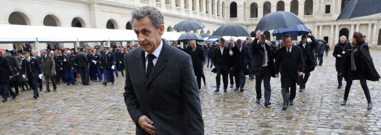 Former French President Nicolas Sarkozy leaves after a national ceremony for late Lieutenant-Colonel Arnaud Beltrame at the Hotel des Invalides in Paris, France, March 28, 2018. Beltrame was killed by an Islamist militant after taking the place of a female hostage during a supermarket siege in Trebes. Ludovic Marin/Pool via Reuters | French Leaders Decry Islamic Antisemtism