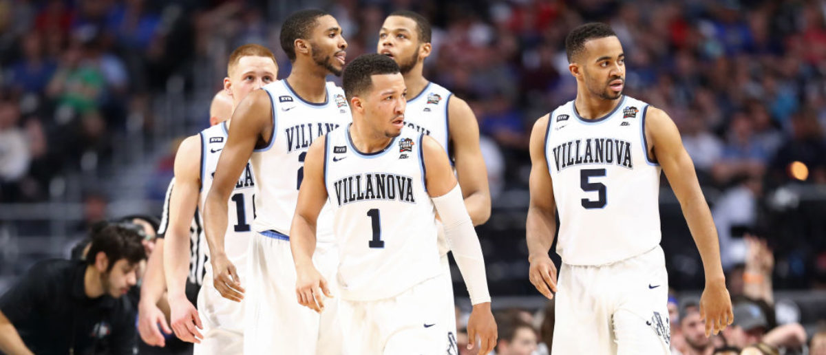 SAN ANTONIO, TX - MARCH 31: The Villanova Wildcats react against the Kansas Jayhawks during the 2018 NCAA Men's Final Four Semifinal at the Alamodome on March 31, 2018 in San Antonio, Texas. The Villanova Wildcats defeated the Kansas Jayhawks 95-79. (Photo by Ronald Martinez/Getty Images)