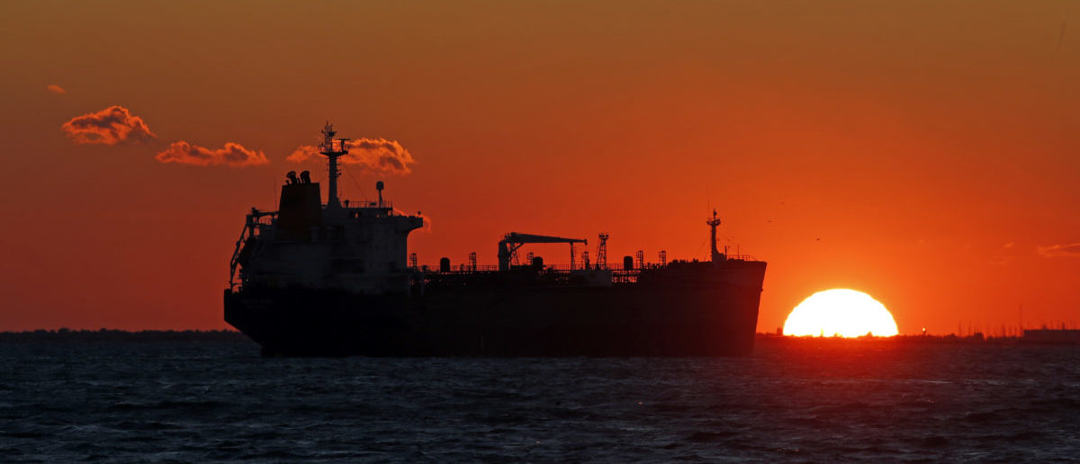 An oil tanker sits anchored off the Fos-Lavera oil hub near Marseille