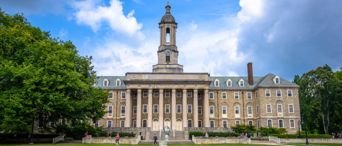 August 31, 2017: The Old Main building on the campus of Penn State University in State College, Pennsylvania. (Shutterstock/Kristopher Kettner)