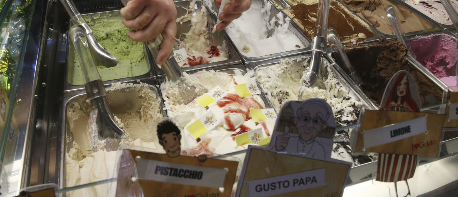 An ice cream shop sells ice cream dedicated to Pope Francis, a mascarpone and strawberry flavoured creation, in Cassano allo Jonio, southern Italy, June 20, 2014. Pope Francis will visit Cassano allo Jonio on Saturday REUTERS/Giampiero Sposito