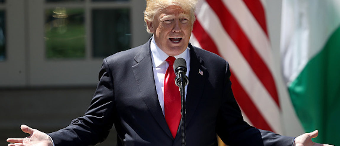 WASHINGTON, DC - APRIL 30: U.S. President Donald Trump answers questions during a joint press conference with Nigerian President Muhammadu Buhari in the Rose Garden of the White House April 30, 2018 in Washington, DC. The two leaders also met in the Oval Office to discuss a range of bilateral issues earlier in the day. (Photo by Win McNamee/Getty Images)