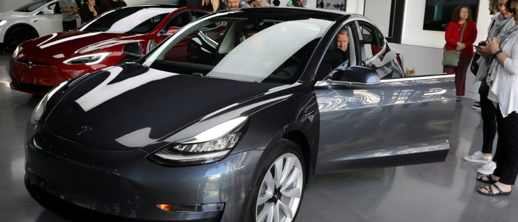 A Tesla Model 3 is seen in a showroom in Los Angeles, California U.S. January 12, 2018. (Credit: REUTERS/Lucy Nicholson/File Photo