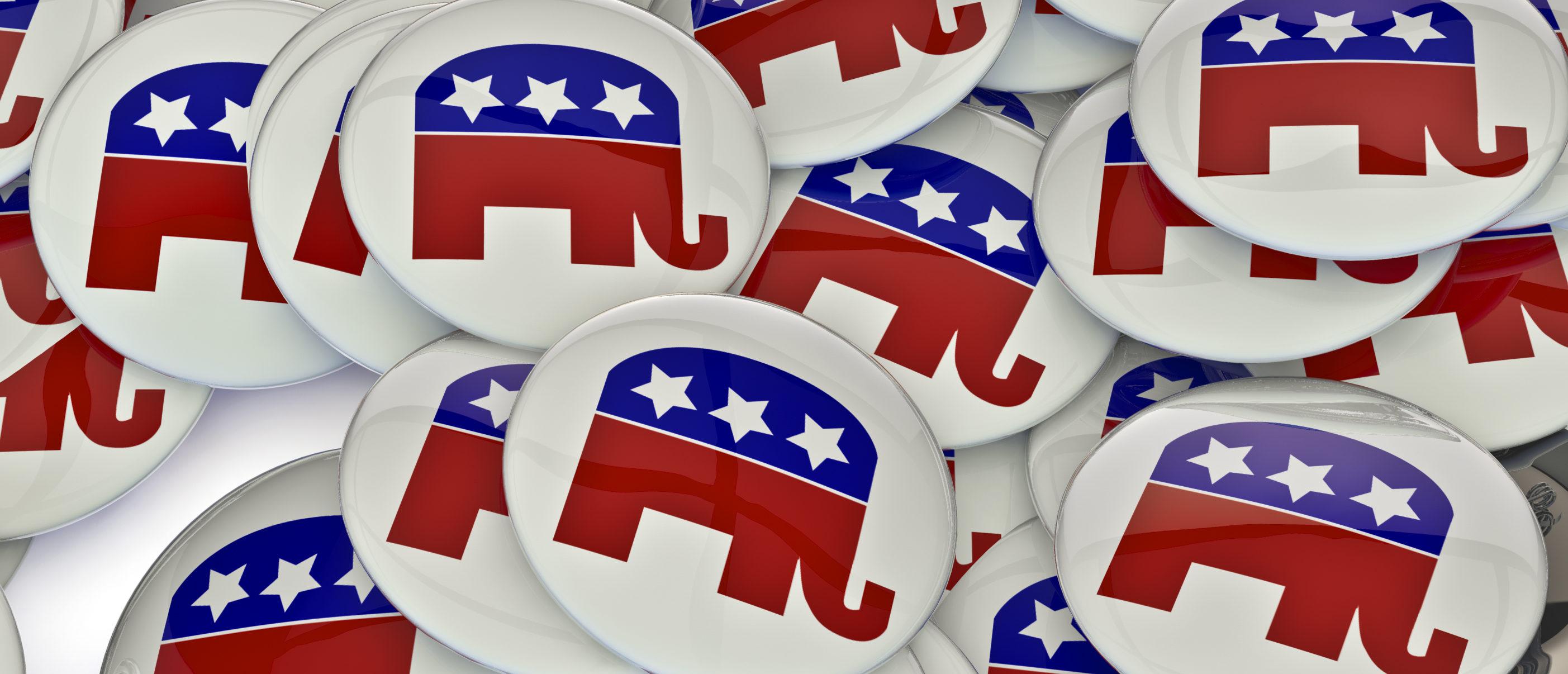An array of Republican badges. (Shutterstock)