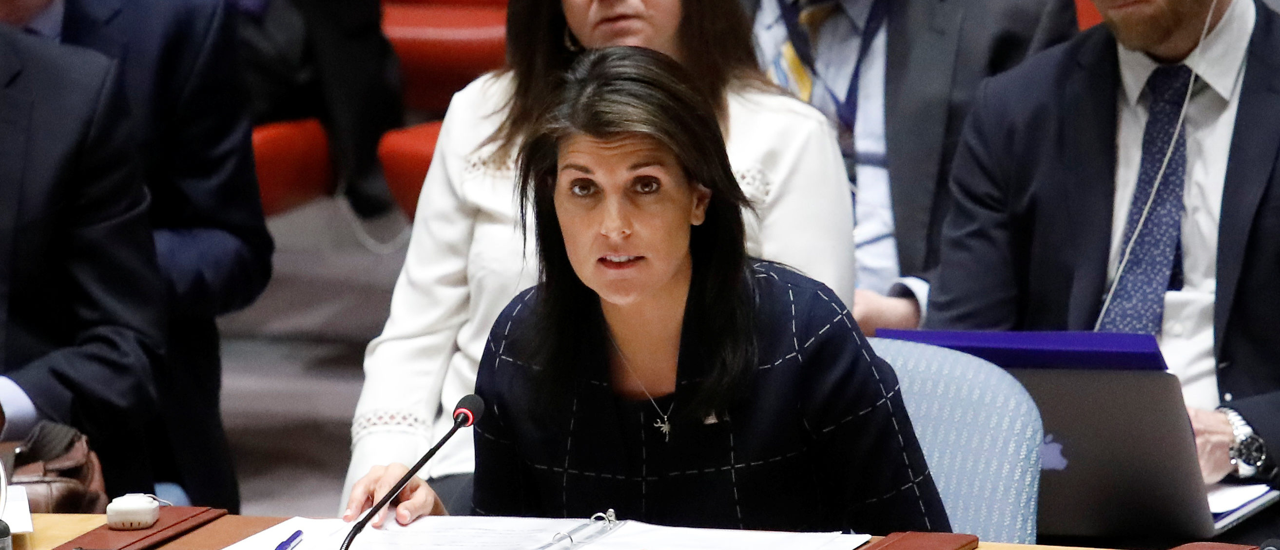 United States Ambassador to the United Nations Nikki Haley speaks during a United Nations Security Council meeting on the Crisis in the Middle East at the UN headquarters in New York, April 17, 2018. REUTERS/Shannon Stapleton