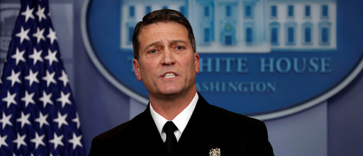 FILE PHOTO: White House, Presidential physician Ronny Jackson answers question about U.S. President Donald Trump's health after the president's annual physical during the daily briefing at the White House in Washington, DC, U.S., January 16, 2018. REUTERS/Carlos Barria/File Photo