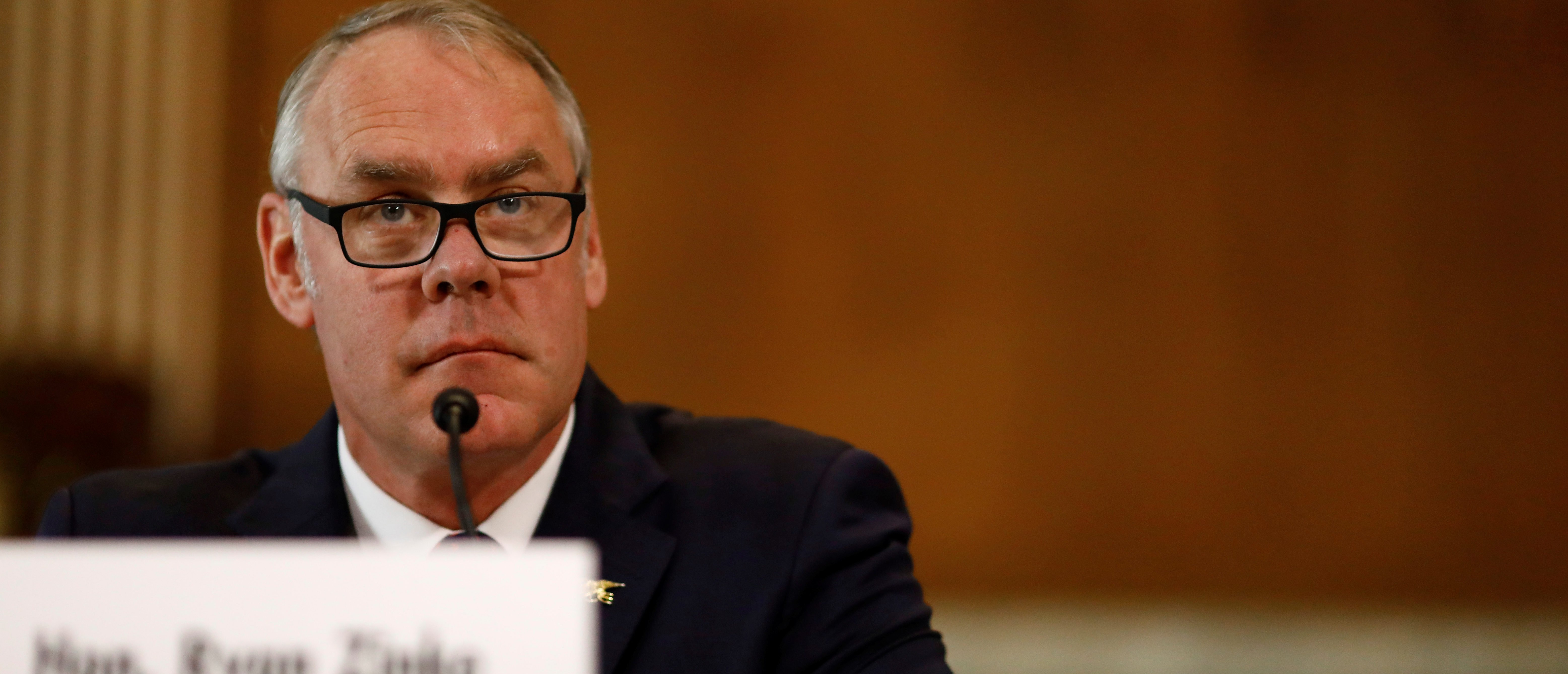 U.S. Secretary of the Interior Ryan Zinke testifies in front of the Senate Committee on Energy and Natural Resources on Capitol Hill in Washington, U.S. March 13, 2018. REUTERS/Eric Thayer