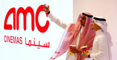 Two Saudi men take a selfie at Saudi Arabia's first commercial movie theater in Riyadh, Saudi Arabia April 18, 2018. REUTERS/Faisal Al Nasser