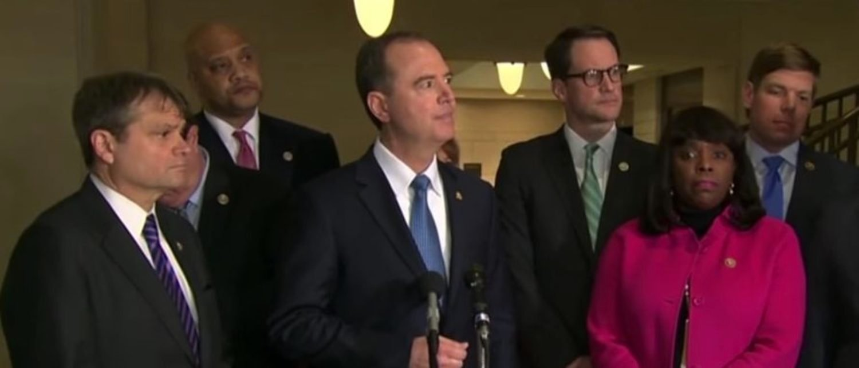 California Rep. Adam Schiff and House Intelligence Committee Democrats. (YouTube screen capture/CNN)