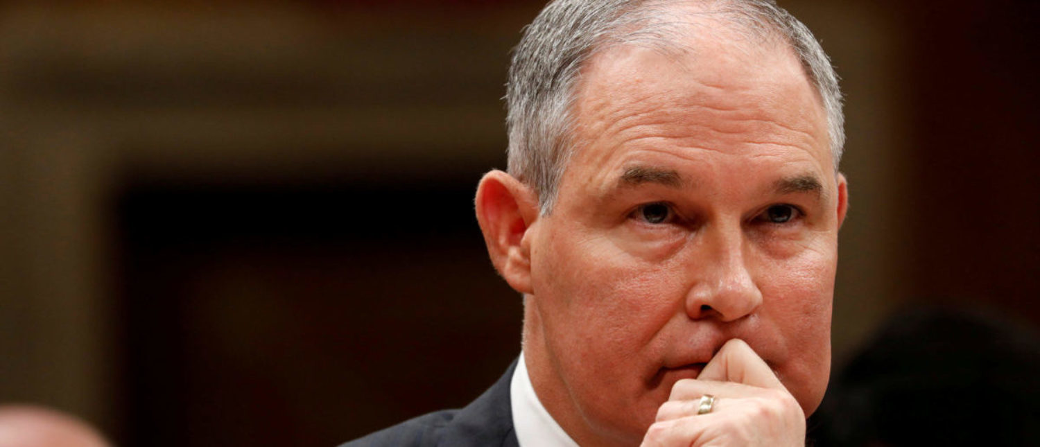 FILE PHOTO: Environmental Protection Agency Administrator (EPA) Scott Pruitt testifies before a Senate Appropriations Subcommittee hearing on Capitol Hill in Washington, U.S., June 27, 2017. REUTERS/Aaron P. Bernstein