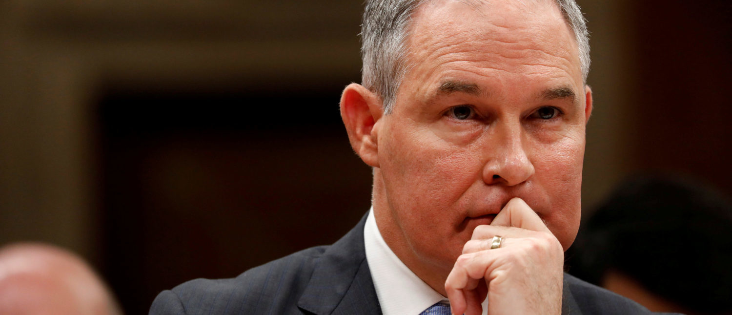 FILE PHOTO: Environmental Protection Agency Administrator (EPA) Scott Pruitt testifies before a Senate Appropriations Subcommittee hearing on Capitol Hill in Washington, U.S., June 27, 2017. REUTERS/Aaron P. Bernstein/Files