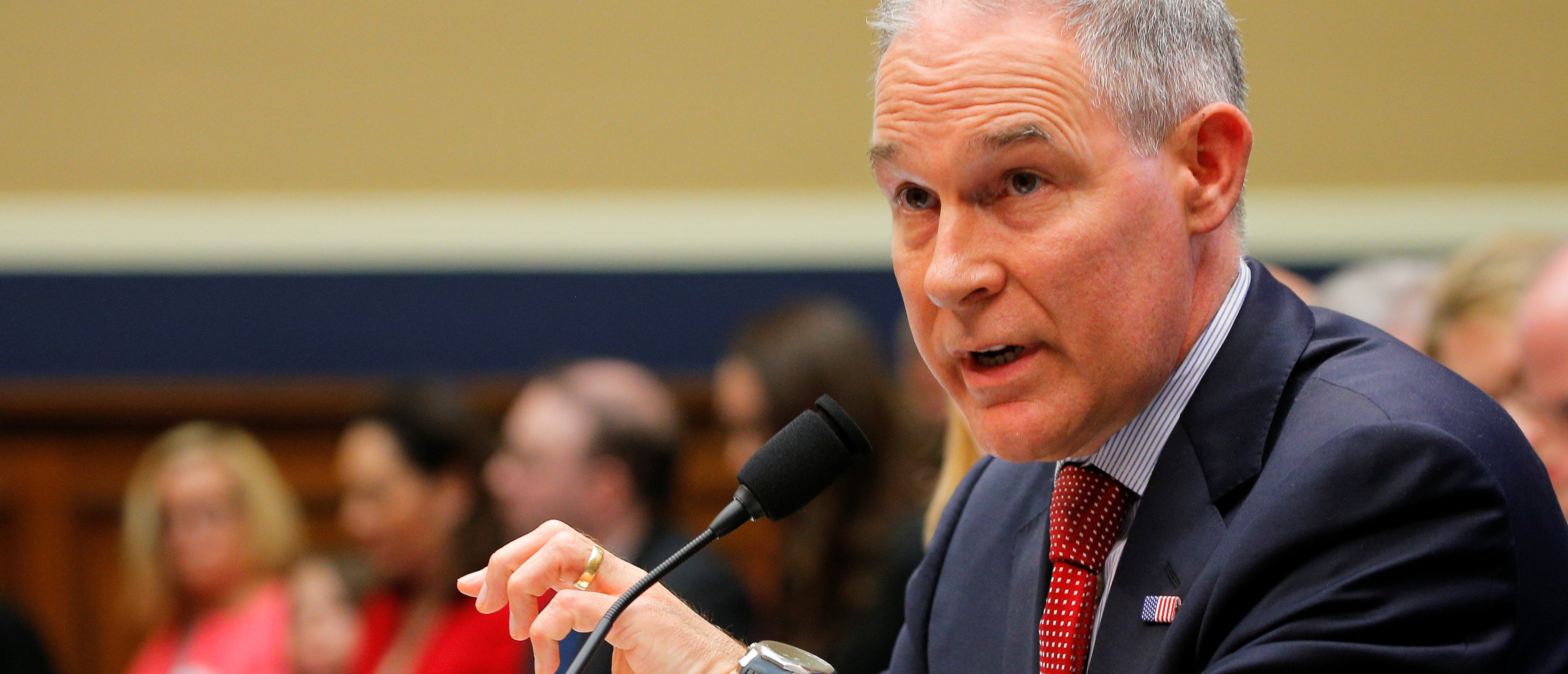 EPA Administrator Scott Pruitt gestures as he testifies before a House Energy and Commerce Subcommittee hearing on the FY2019 Environmental Protection Agency budget in Washington, U.S., April 26, 2018. REUTERS/Brian Snyder - RC1937148D00