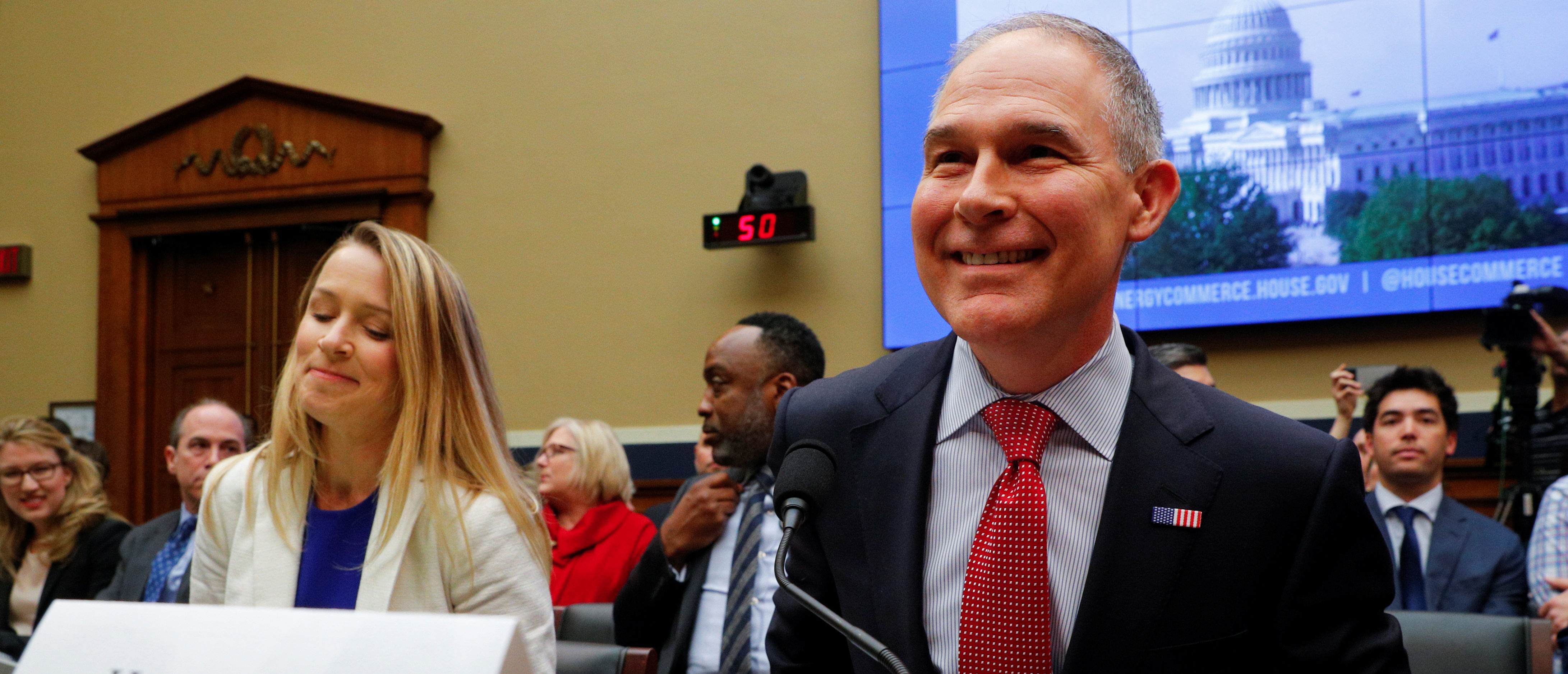 EPA Administrator Scott Pruitt testifies before a House Energy and Commerce Subcommittee hearing on the FY2019 Environmental Protection Agency budget in Washington, U.S., April 26, 2018. REUTERS/Brian Snyder | Pruitt Sticks With Trump's Agenda