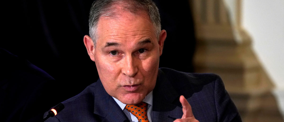 FILE PHOTO: EPA Administrator Scott Pruitt speaks during a meeting held by U.S. President Donald Trump on infrastructure at the White House in Washington, U.S., February 12, 2018. REUTERS/Kevin Lamarque/File Photo | Gowdy Reviewing Pruitt's Travel Records