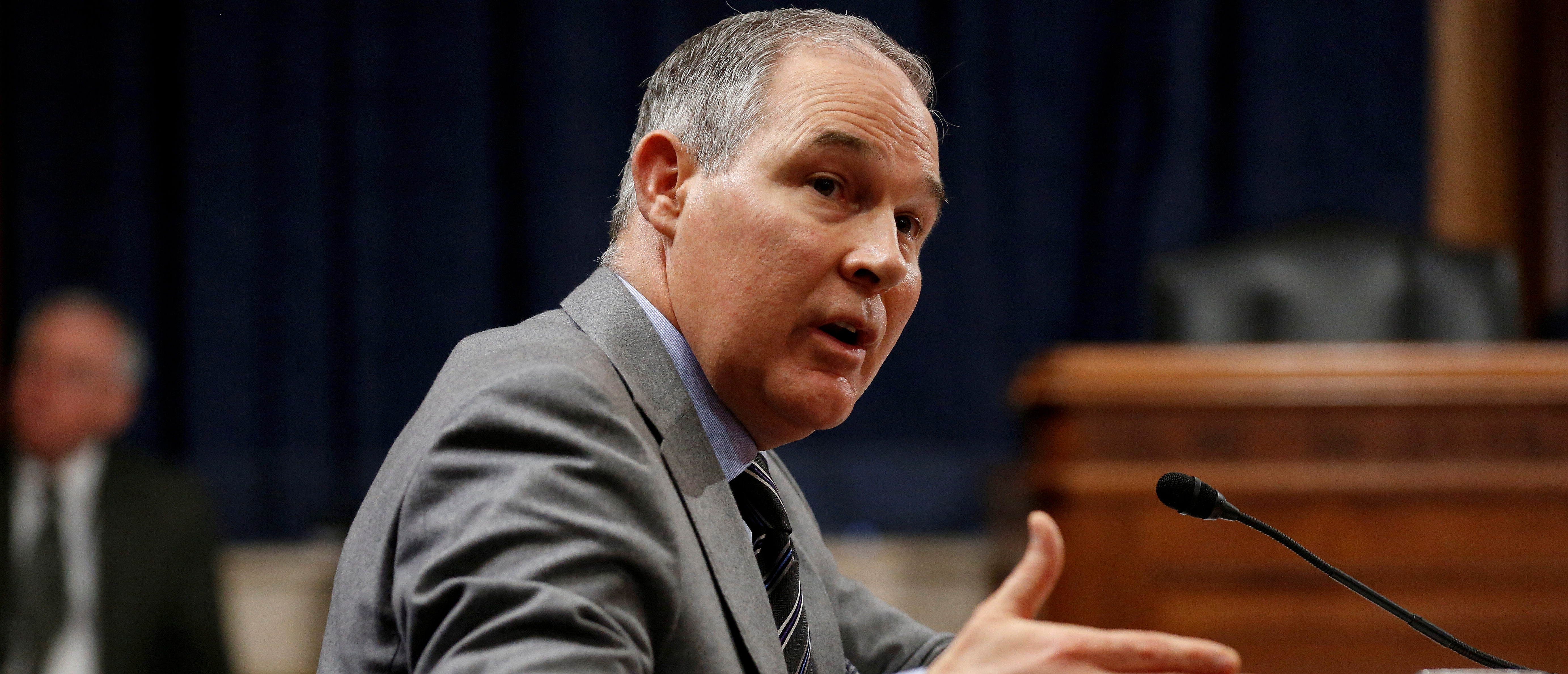 FILE PHOTO: Scott Pruitt, Environmental Protection Agency (EPA) Administrator, gestures as he testifies to the Senate Environment and Public Works Committee oversight hearing on the Environmental Protection Agency on Capitol Hill in Washington, DC, U.S., January 30, 2018. REUTERS/Joshua Roberts/File Photo | Who Is Leaking Info On Scott Pruitt?