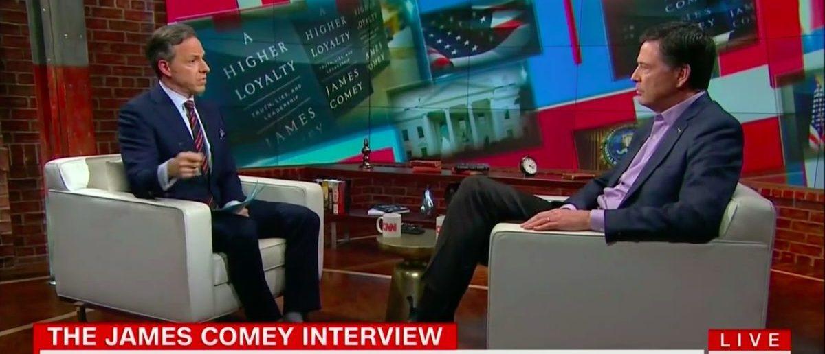 Screen Shot James Comey (CNN: April 19, 2018)