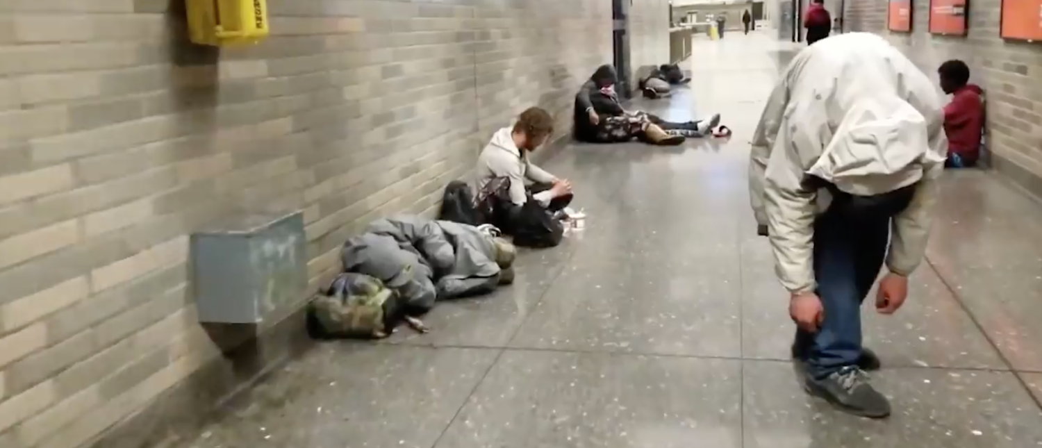 Several people appearing to shoot up drugs at a San Francisco rail station were caught on camera in a video published Friday by Fox News. [Screenshot/Facebook/Public - User: Shannon Gafford/Fox News Digital Originals]