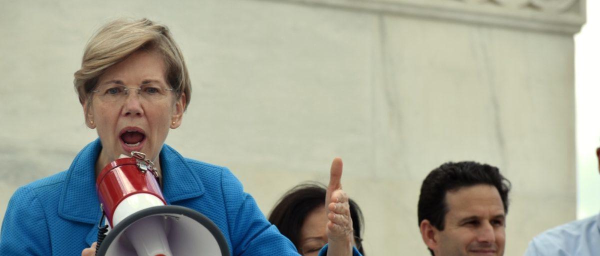 WASHINGTON, D.C. -- JULY 25 2016: Senator Elizabeth Warren addresses crowds outside the Capitol protesting the GOP health bill. (Shutterstock/Kelly Bell)