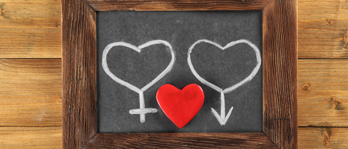 Blackboard with drawn gender symbols and red heart on wooden background Shutterstock/Africa Studio   Sex Ed Teacher On Leave After Videos