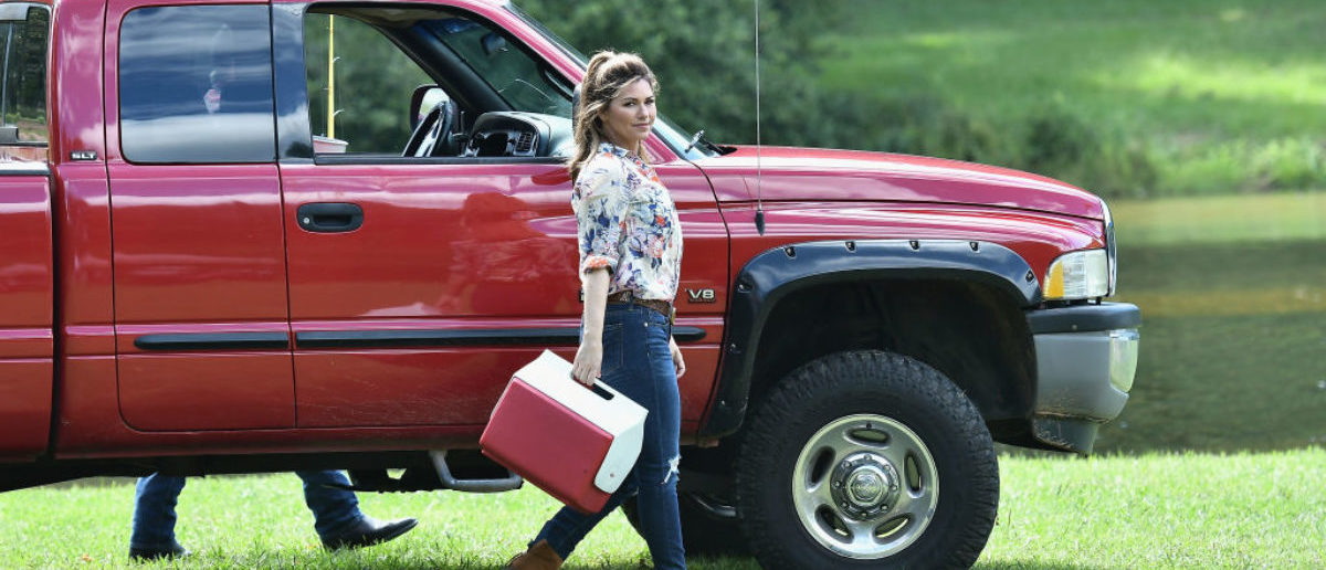 """Shania Twain is on the set of the movie """"Trading Paint"""" on September 1, 2017. (Photo by Gustavo Caballero/Getty Images)"""
