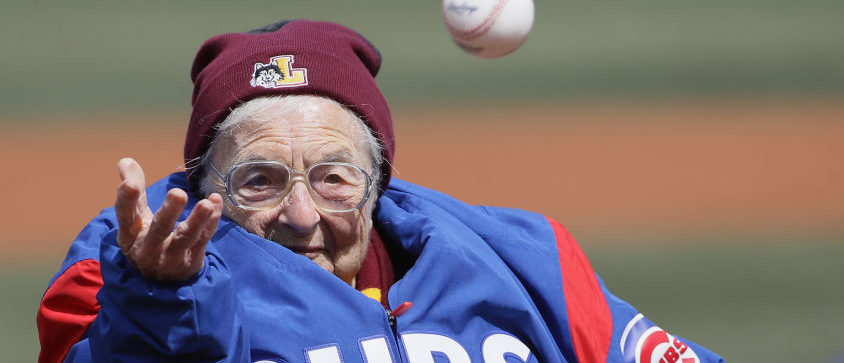 CHICAGO, IL - APRIL 10: Sister Jean Delores Schmidt of Loyola University tosses a ceremonial first pitch before the Opening Day home game between the Chicago Cubs and the Pittsburgh Pirates at Wrigley Field on April 10, 2018 in Chicago, Illinois. (Photo by Jonathan Daniel/Getty Images)
