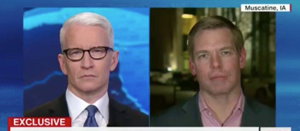 Anderson Cooper and California Rep. Eric Swalwell talk. (YouTube screen grab/CNN)
