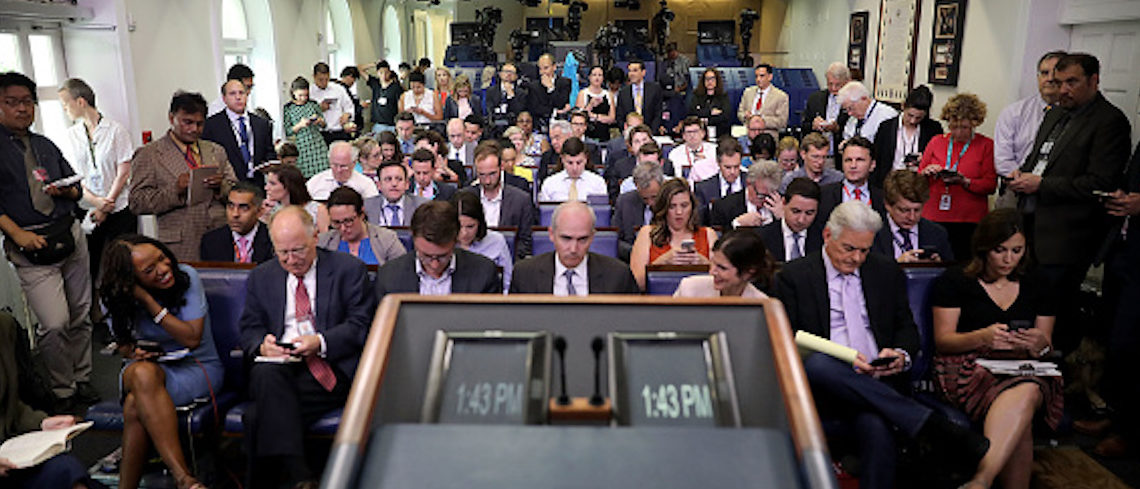 WASHINGTON, DC - JUNE 23: The television lights remain off as reporters wait for the arrival of White House Press Secretary Sean Spicer in the James Brady Press Briefing Room at the White House June 23, 2017 in Washington, DC. For the third time in five days, the White House barred television cameras from a media briefing and prohibited live audio broadcasts. (Photo by Chip Somodevilla/Getty Images)