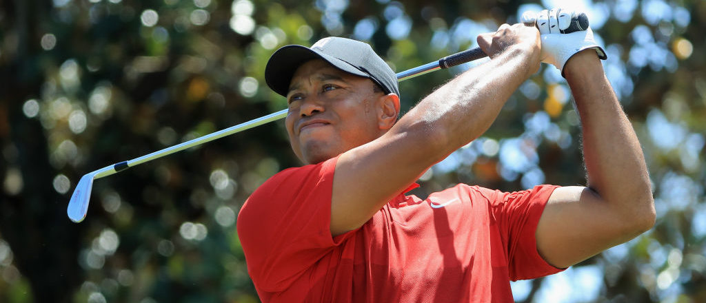 Tiger Woods plays his shot from the second tee during the final round at the Arnold Palmer Invitational Presented By MasterCard at Bay Hill Club and Lodge on March 18, 2018 in Orlando, Florida. (Photo by Sam Greenwood/Getty Images)