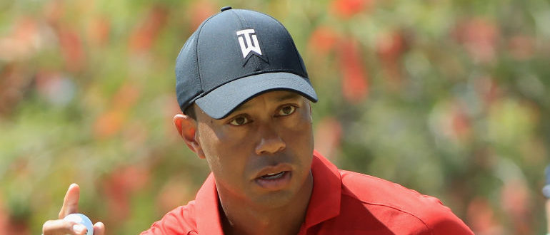 ORLANDO, FL - MARCH 18: Tiger Woods reacts to his putt during the final round at the Arnold Palmer Invitational Presented By MasterCard at Bay Hill Club and Lodge on March 18, 2018 in Orlando, Florida. (Photo by Sam Greenwood/Getty Images)