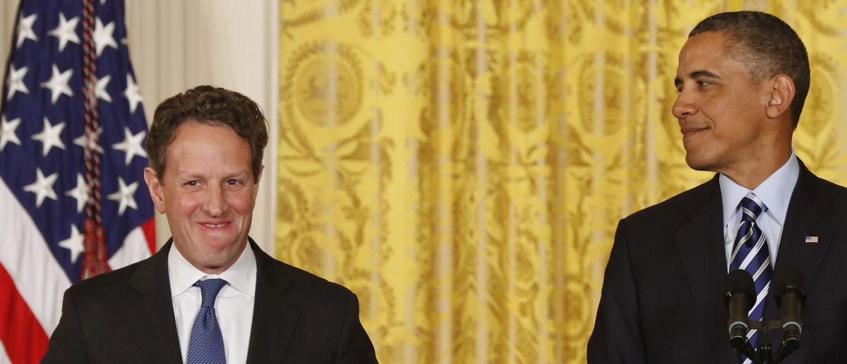 U.S. President Barack Obama (R) talks next to outgoing U.S. Secretary of Treasury Timothy Geithner in the East Room of the White House in Washington, January 10, 2013. REUTERS/Larry Downing | Obama Secretary Lived With Banking Exec