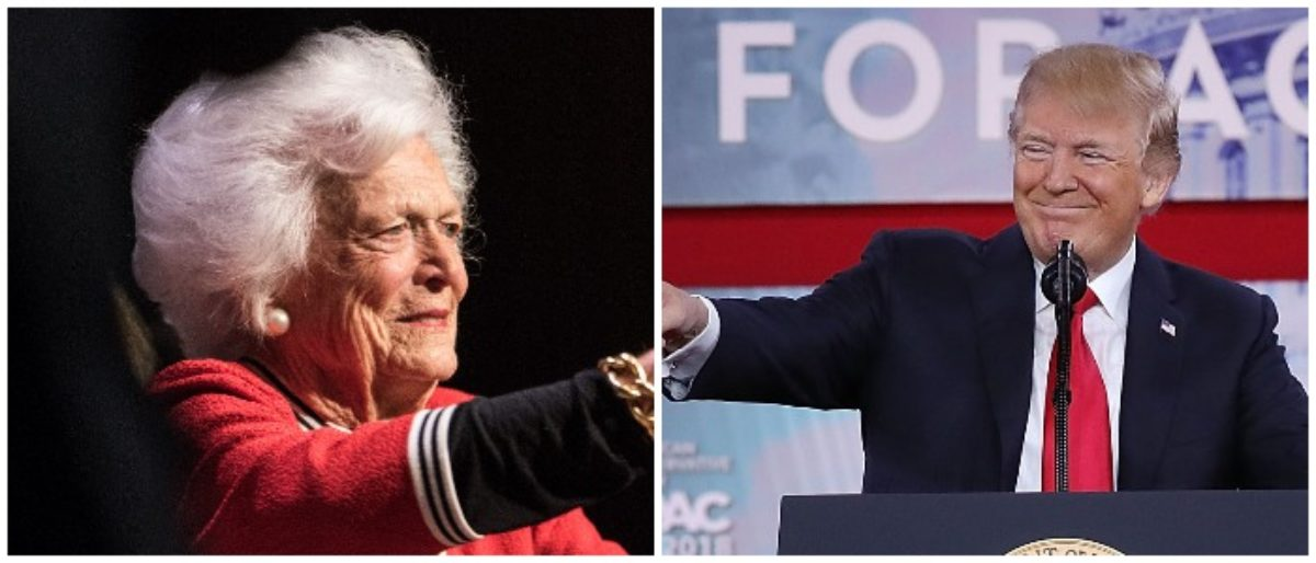 Trump Barbara Bush Left: Photo by Sean Rayford/Getty Images Right: Photo by Chip Somodevilla/Getty Images