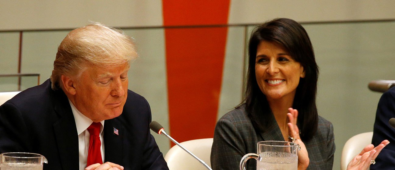 U.S. Ambassador the the U.N. Nikki Haley applauds as U.S. President Donald Trump speaks during a session on reforming the United Nations at U.N. Headquarters in New York, U.S., September 18, 2017. REUTERS/Kevin Lamarque