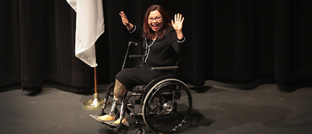 PALATINE, IL - APRIL 11: U.S. Senator Tammy Duckworth (D-IL) arrives for a town hall meeting on April 11, 2017 in Palatine, Illinois. Duckworth, who defeated Senator Mark Kirk (R-IL) in 2016, is the junior senator from Illinois. (Photo by Scott Olson/Getty Images)
