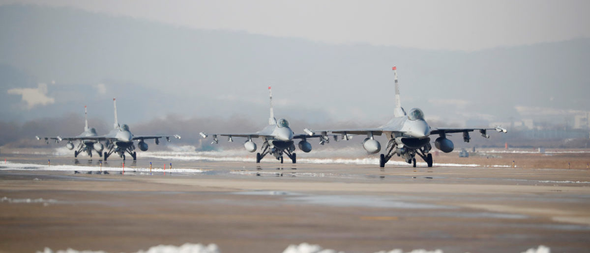 U.S. Air Force F-16 fighter jets take part in a joint aerial drill exercise called 'Vigilant Ace' between U.S. and South Korea, at the Osan Air Base in Pyeongtaek, South Korea, December 6, 2017. REUTERS/Kim Hong-Ji